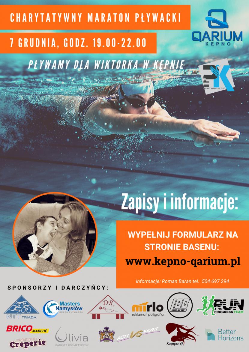 Zapraszamy do QARIUM Kępno na Charytatywny Maraton Pływacki