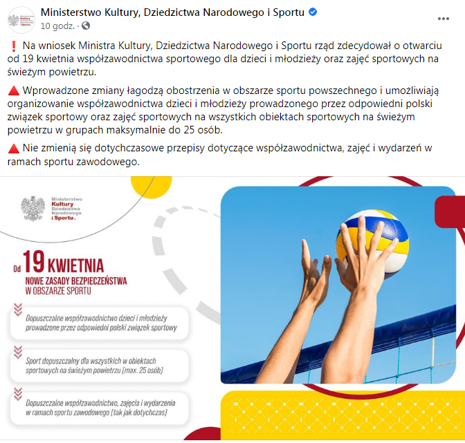 19 kwietnia nowe zasady bezpieczeństwa w obszarze sportu